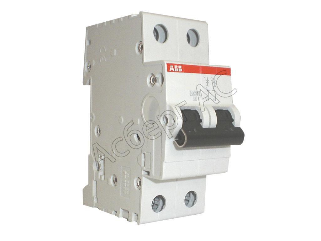 Автоматические выключатели модульные S202 C16 Автомат 2-полюсный 16А 6кА (хар-ка C) ABB