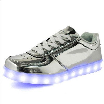 Серебряные LED кроссовки со светящейся подошвой (Размер 40 (длина стельки 25 см))