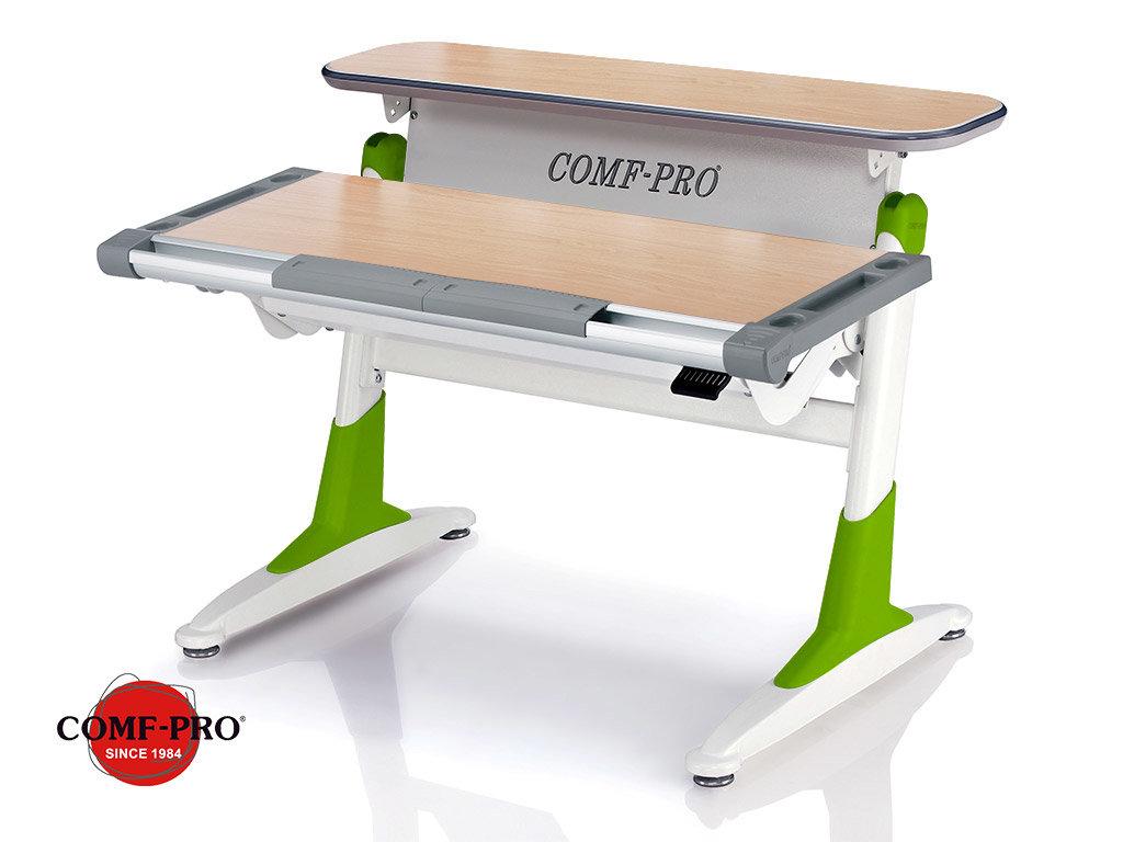 Растущая парта Comf-Pro Coho (TH-333 - столешница клен / ноги белые с зелеными вставками)