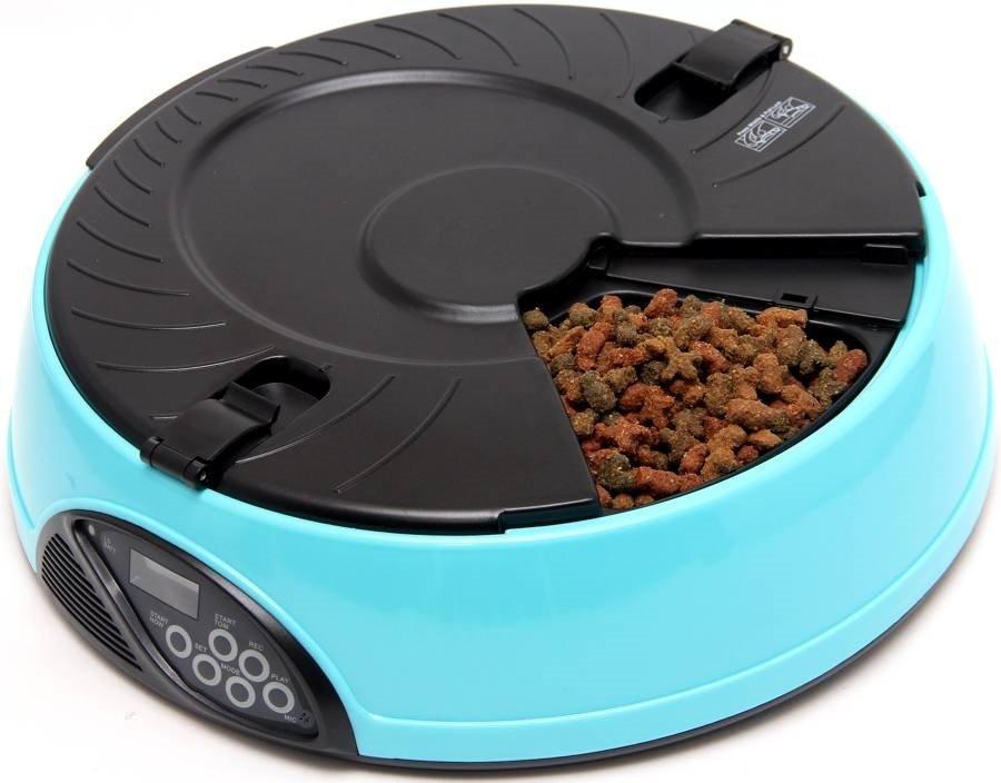 Автоматическая кормушка на 6 кормлений для кошек и собак с ЖК дисплеем для любого вида корма PF6B голубая