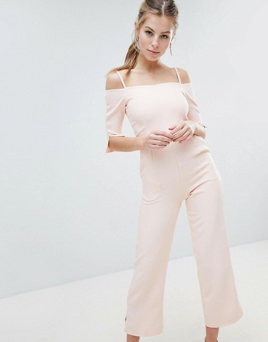 Комбинезон в строгом стиле со спущенными плечами Oh My Love - Светло-розовый