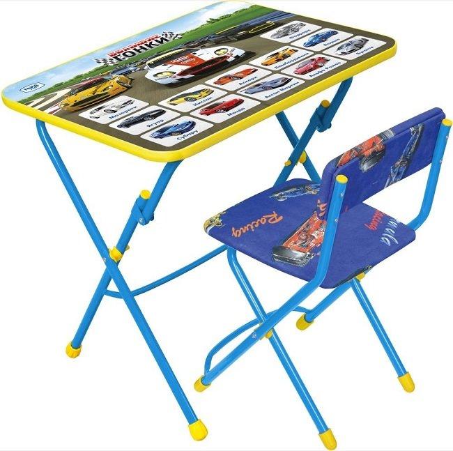 Комплект детской мебели Большие гонки Стол+стул мягкий синий КУ1/15 Ника