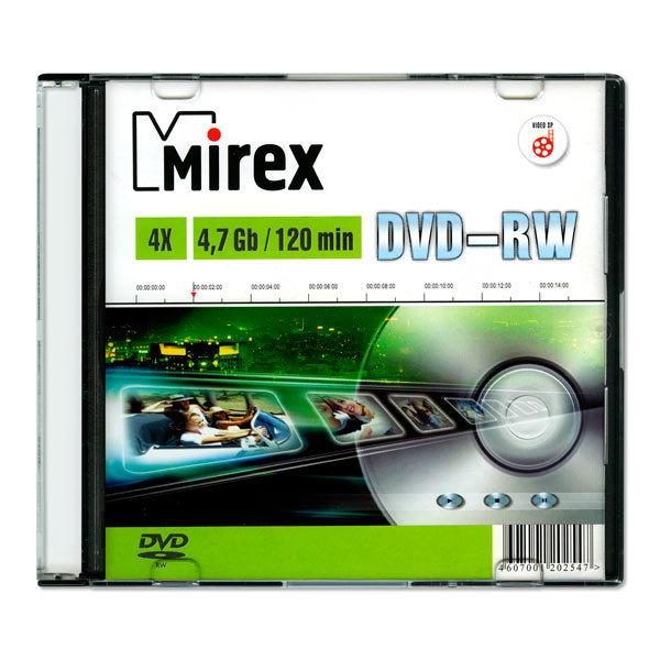 DVD-диск Dvd-rw mirex 4.7 гб 4x slim case (ul130032a4s)