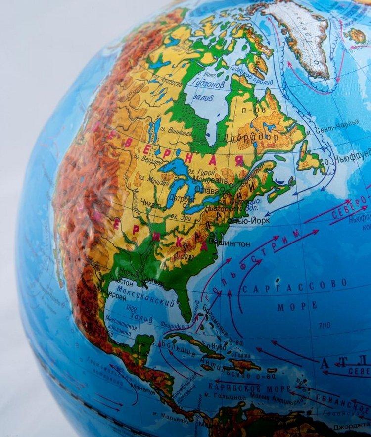 Глобус политический рельефный диаметром 210 мм