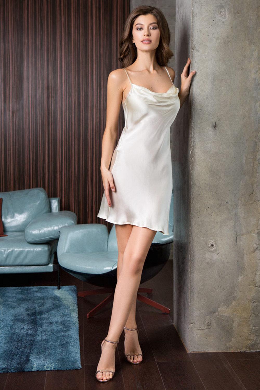 Mia-Mia Сорочка женская шелковая молочного цвета (экрю / XL(50))