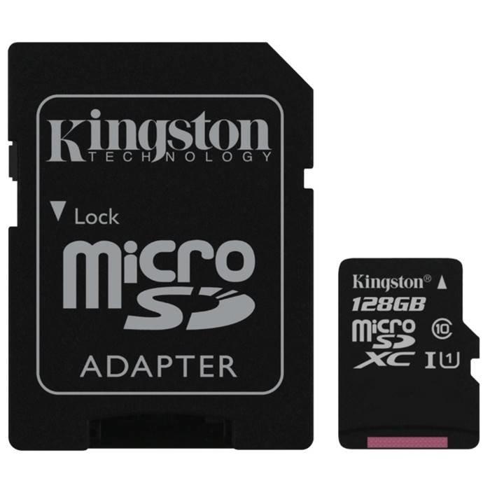 KINGSTON Карта памяти MicroSD 128Gb Kingston(Class10 SDC10G2/128GB + adapter)