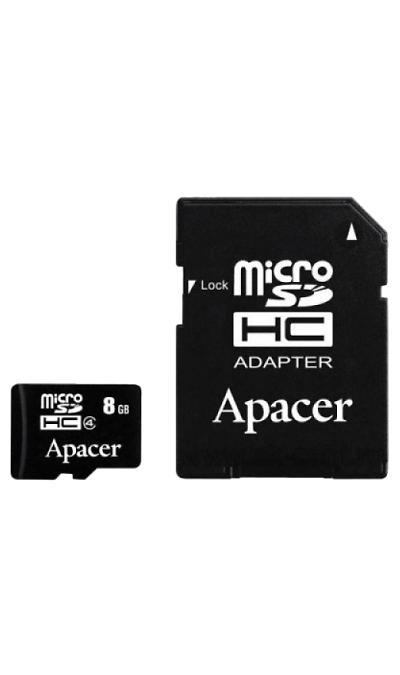 Карта памяти Apacer MicroSD HC 8 ГБ class 4 (с адаптером)