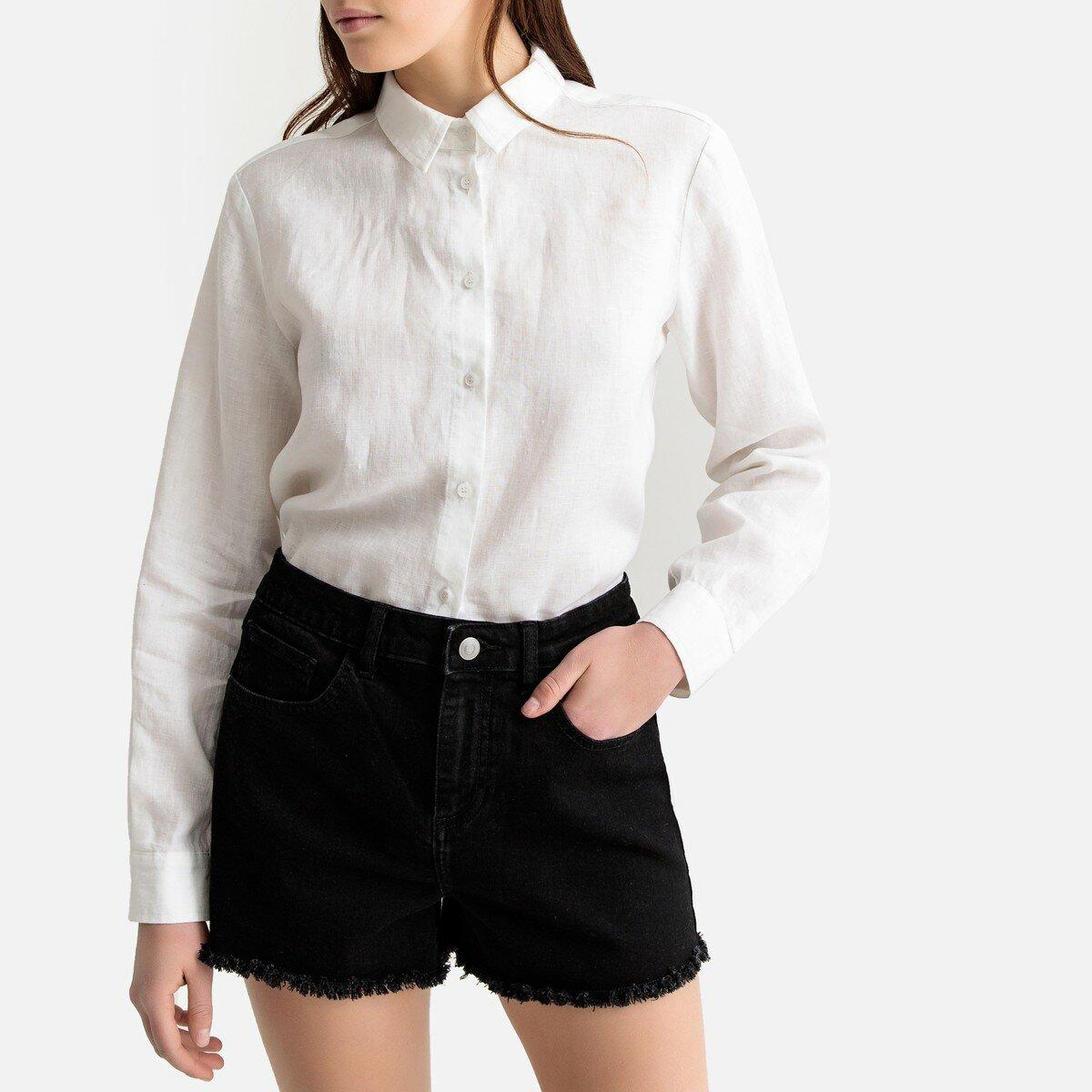 Блузка La Redoute Прямого покроя с длинными рукавами из льна