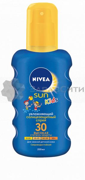 Нивея сан спрей солнцезащитный детский цветной spf30 200мл (85403)