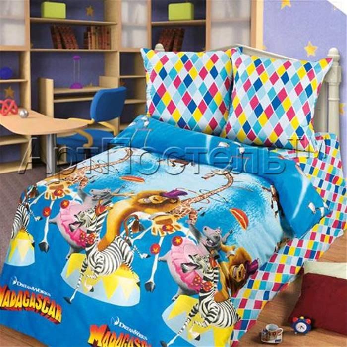 Комплект детского постельного белья (1,5 спальное) Арт-Постель 142 арт. Мадагаскар «Цирк»