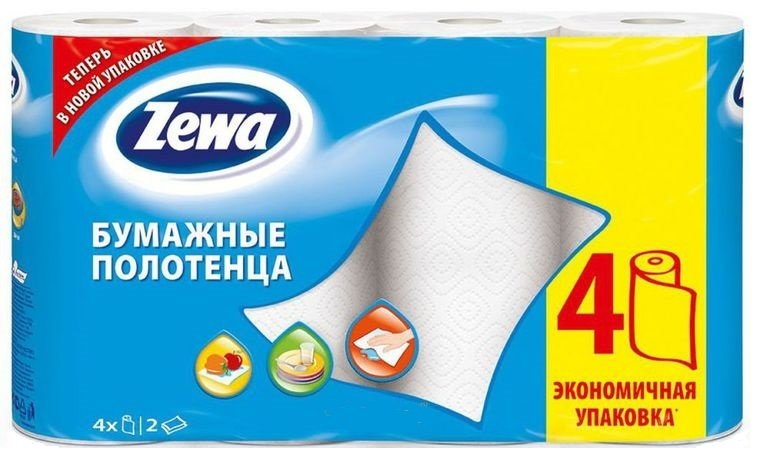 Полотенца бумажные ZEWA Белые 2-слойные, 4 шт.