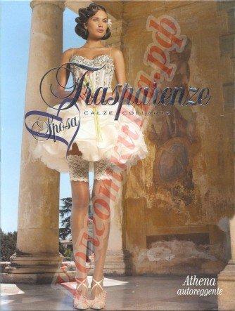Свадебные чулки летние, ультратонкие, невидимые Trasparenze Athena autoreggente 4/L, Rosa