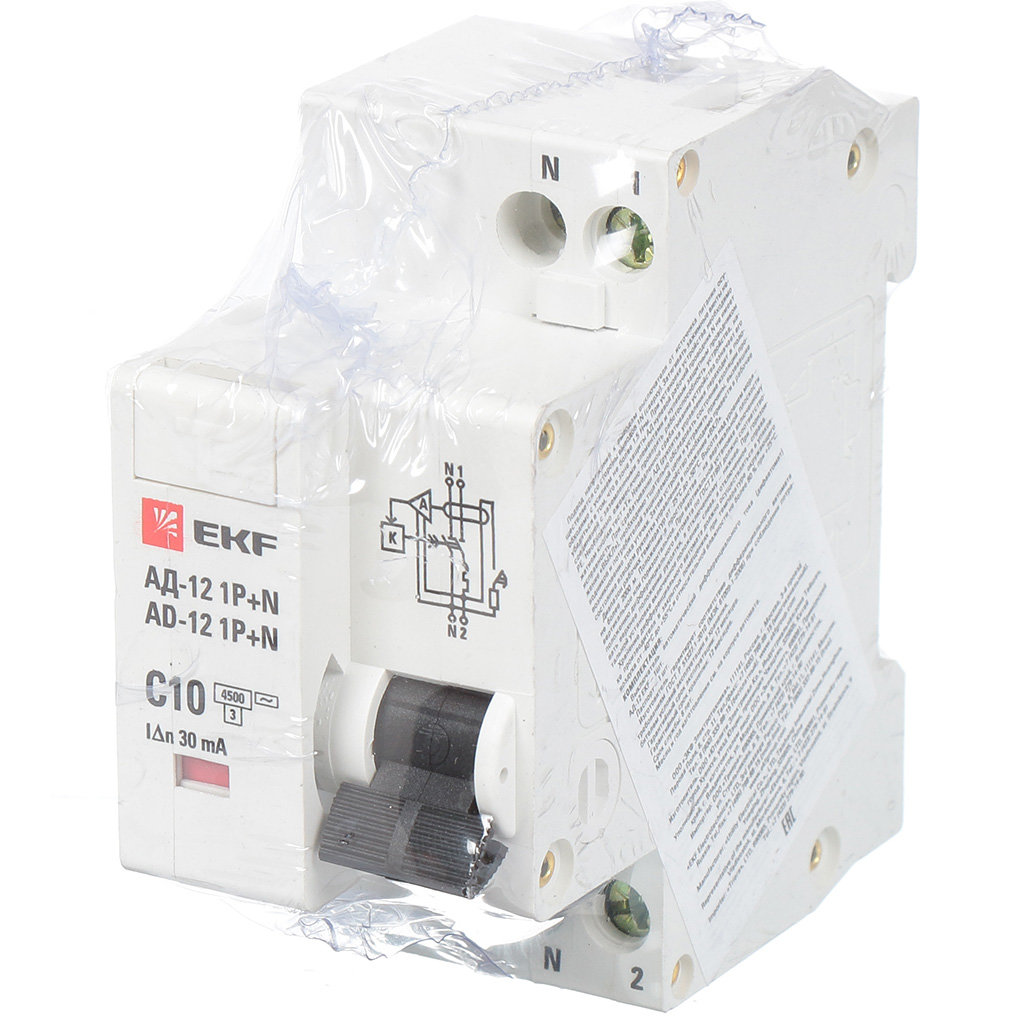 Автоматический выключатель дифференциального тока EKF DA12-10-30-bas АД12 1Р+N, 10 А, 30 мА