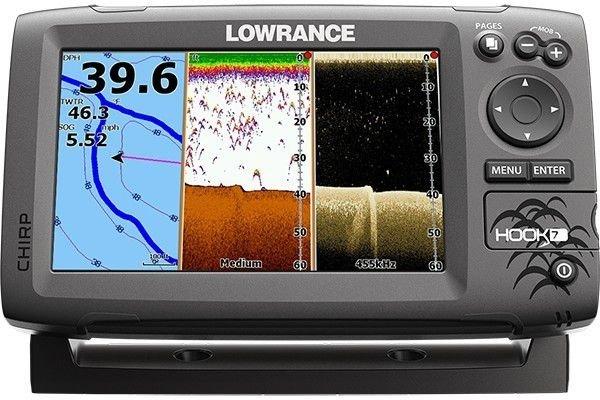 Эхолот-картплоттер с GPS и 7 дюймовым цветным экраном Lowrance HOOK-7 Mid/High/DownScan