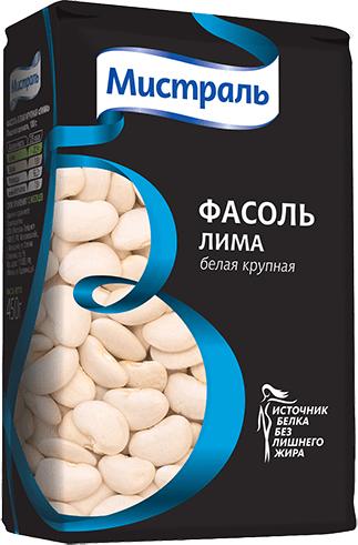 Фасоль Мистраль Лима белая крупная, 450 г