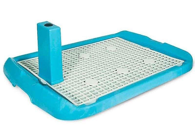 """Туалет со столбиком для собак """"Makar"""", с решеткой (цвет: голубой), 40х60 см"""