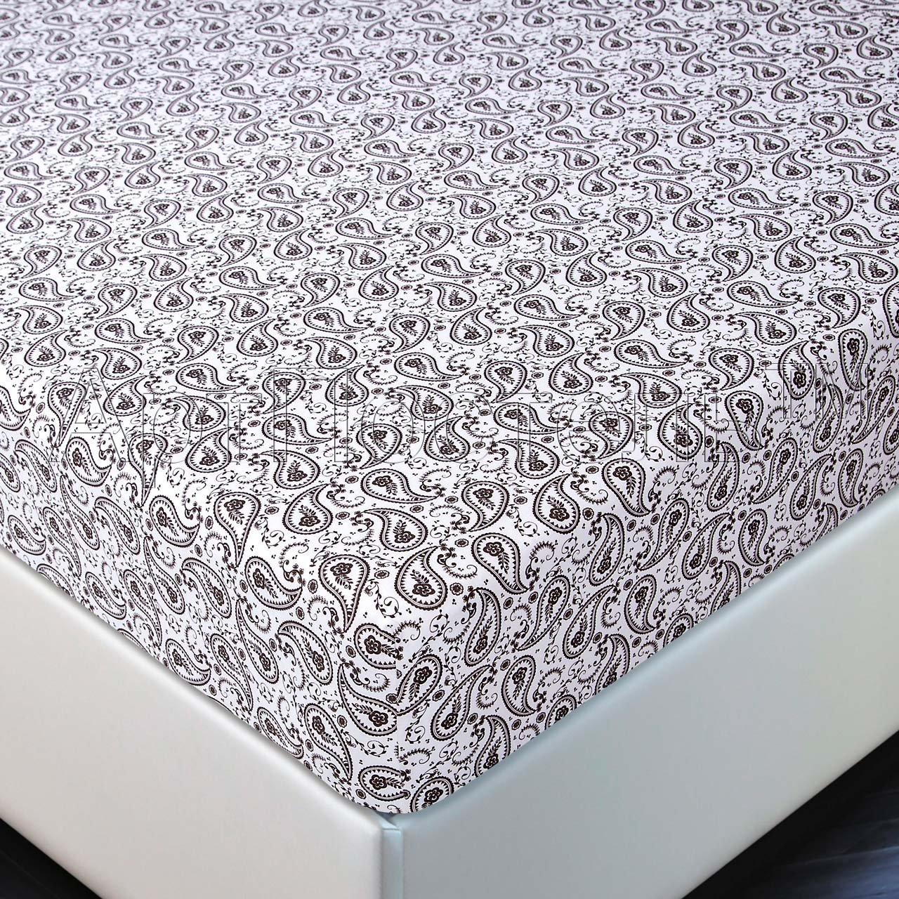 Простыня на резинке трикотажная Ажур Артпостель (белый-коричневый), Простыня на резинке 90x200 (+20 см бортик)