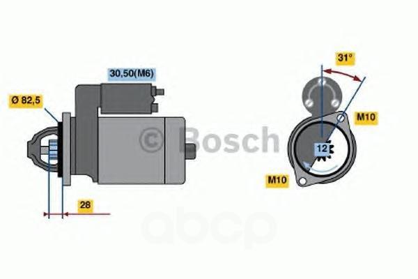 Стартер mercedes-benz: sprinter 3,5 c бортовой платформой/ходовая часть (906) 309 cdi (906.131, 906.133, 906.135, 906.231, 906.233...)/311 cdi (906.131, 906.1 Bosch арт. 0001115074