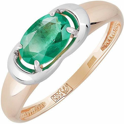 Золотое кольцо Магия Золота KL-687K-321-0-15-00 c изумрудом, размер 17 мм
