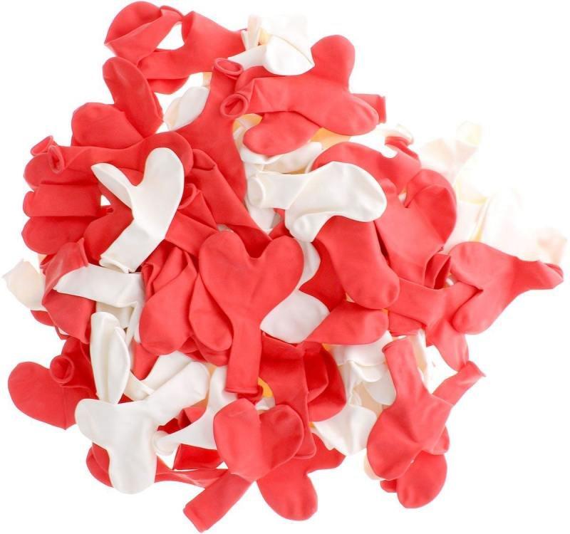 Шары воздушные сердечки красные, белые, 100шт