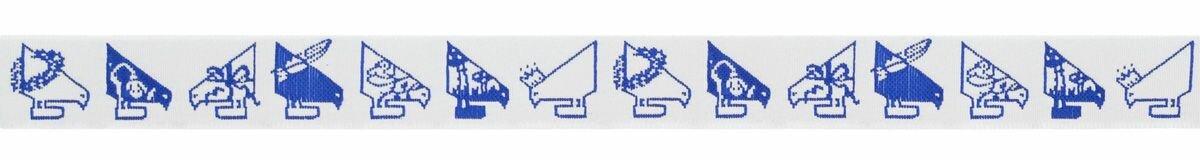 "Тесьма декоративная ""Птицы Акуфактум"", цвет: синий, 1 м х 20 мм. 35080"
