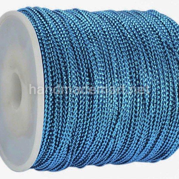 Шнур Декоративный, 1 мм, Металлизированный, Голубой, 1 м