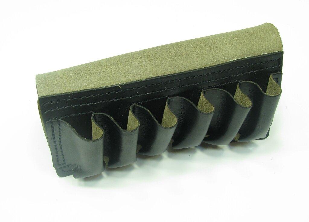 Подсумок закрытый (кожа) ПП-1, 12 калибр, 6 патронов ранг (Черный)
