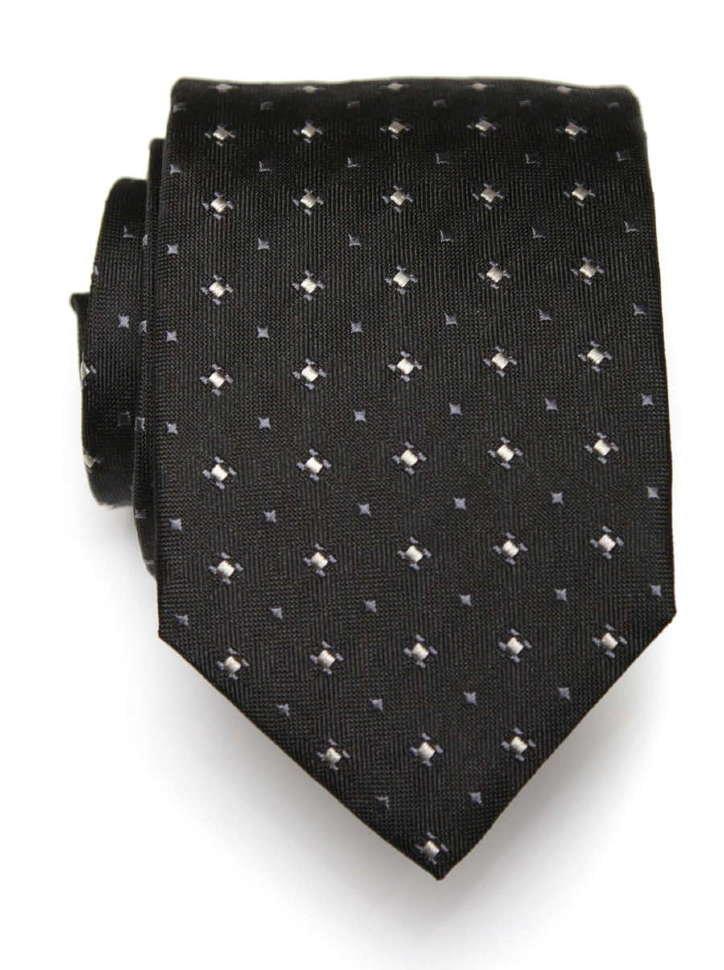 Черный галстук с мелким рисунком Club Seta 8035