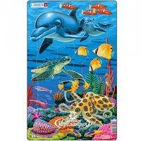 """LARSEN Пазл для малышей """"Коралловый риф - Дельфины"""", 25 элементов, 28*18 см H23"""