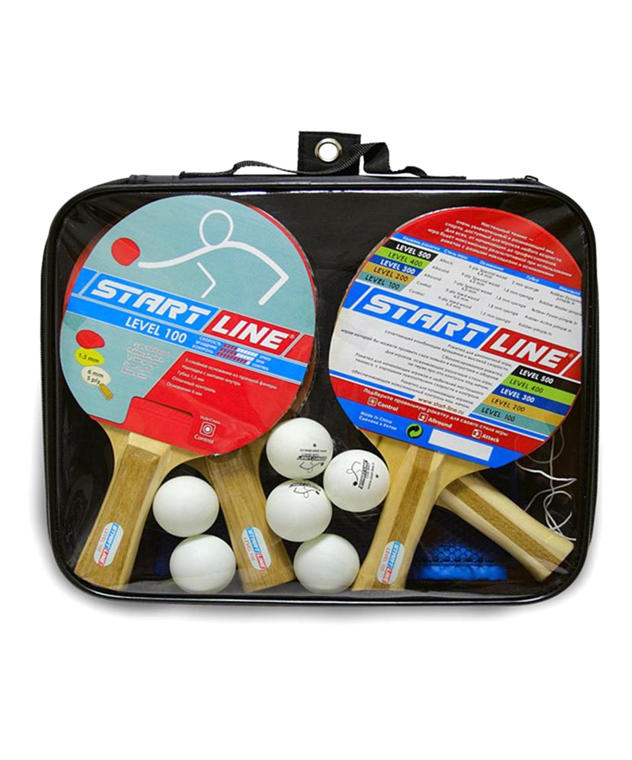 Набор для настольного тенниса Level 100, 4 ракетки, 6 мячей и сумка