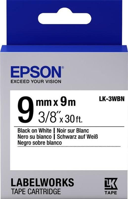 Лента Epson LK-3WBN, стандартная, черный шрифт на белой ленте, 9мм/9м