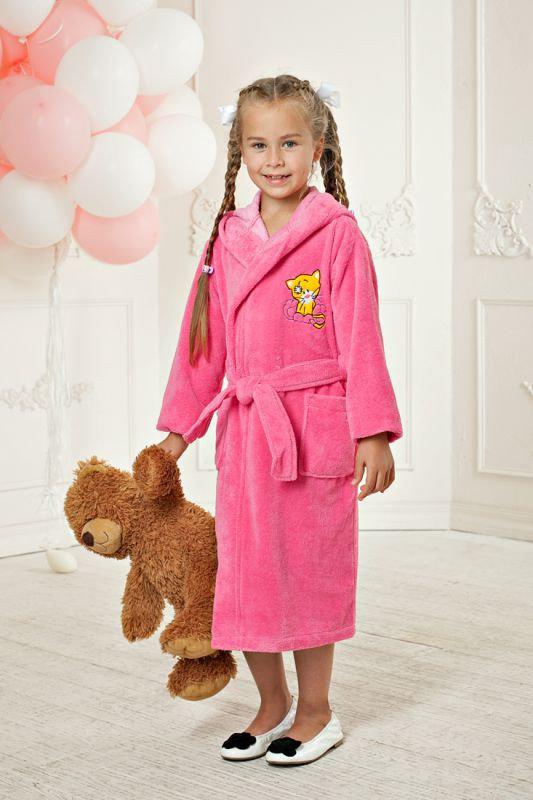Розовый бамбуковый халатик с капюшоном для девочек