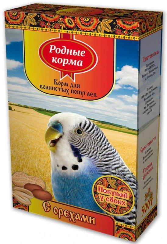 """Корм для волнистых попугаев """"Родные корма"""" с орехами, 500 г"""