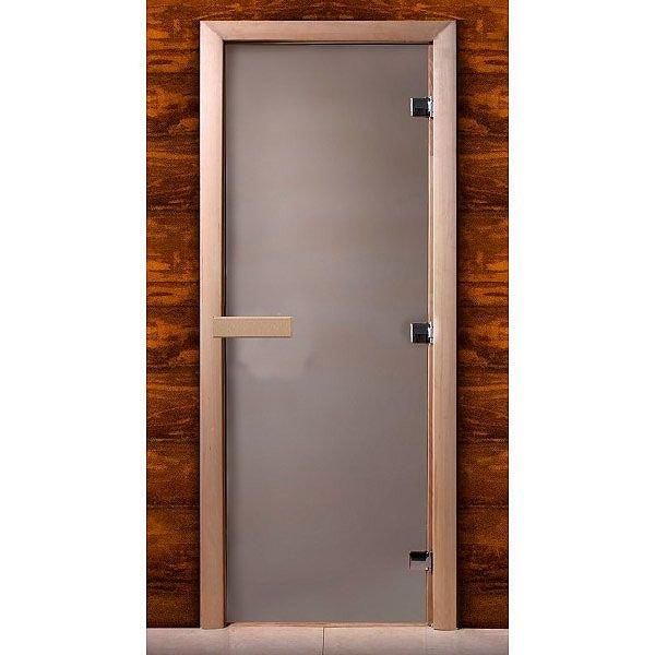 Дверь стеклянная для сауны MW стекло сатин, коробка ольха (Размер: 800*1900 мм)