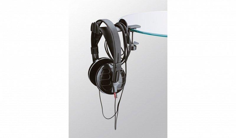K&M 16090-000-55 держатель для наушников на струбцине, для микрофонной стойки или стола, не поворотный