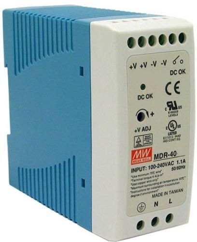 Преобразователь AC-DC сетевой Mean Well MDR-40-12 источник питания 12В с универсальным входом от 85 до 264 В AC, мощность 40Вт / 3,33А, монтаж на DIN-