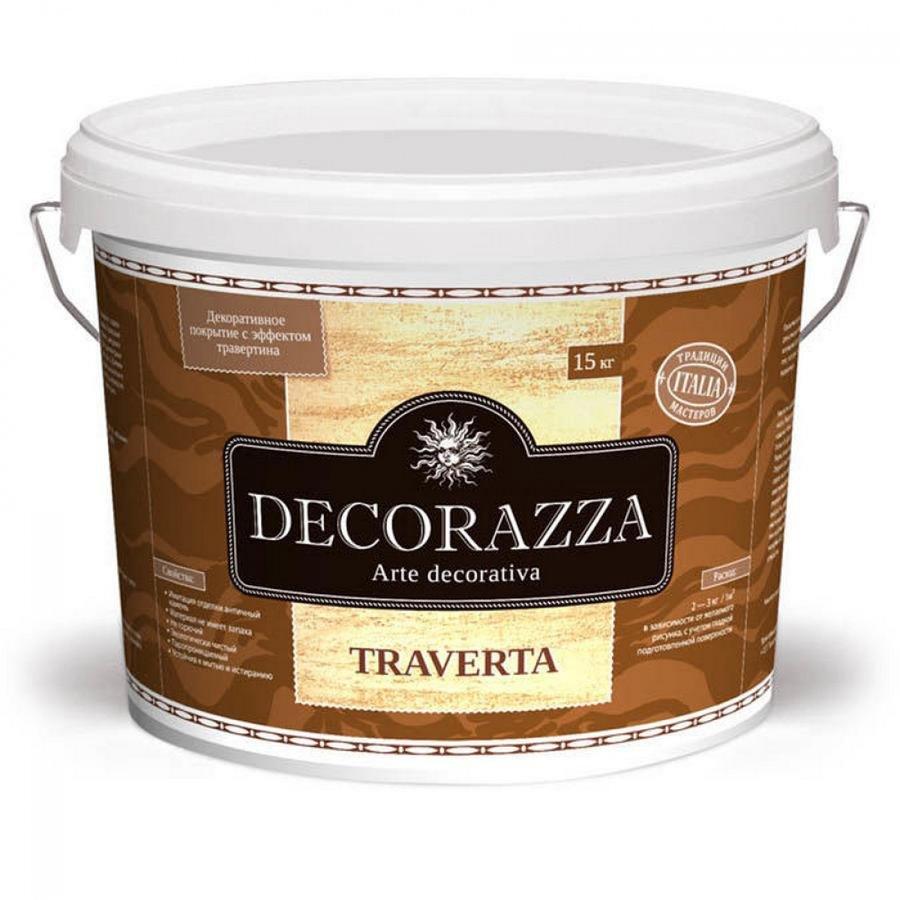 Декоративное покрытие Decorazza TRAVERTA (ТРАВЕРТА) 7кг с эффектом натурального камня травертина