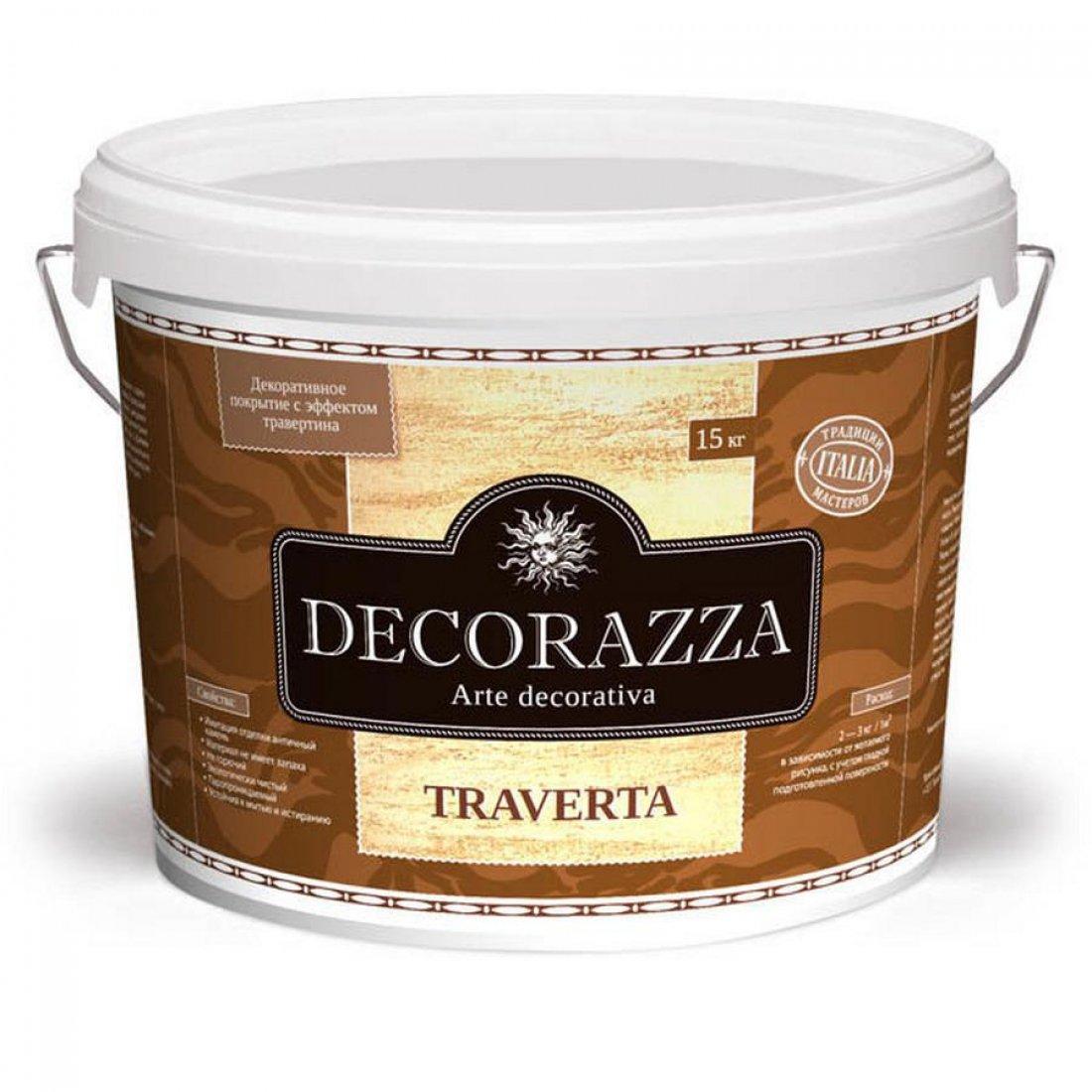 Декоративное покрытие Decorazza TRAVERTA (ТРАВЕРТА) 15кг с эффектом натурального камня травертина