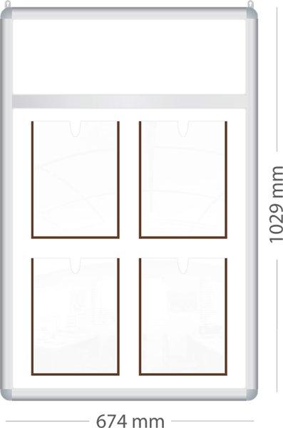 Стенд с фризом на 4 кармана формата А4.|Престиж| ИП Севостьянов Стенд с фризом на 4 кармана формата А4.|Престиж|