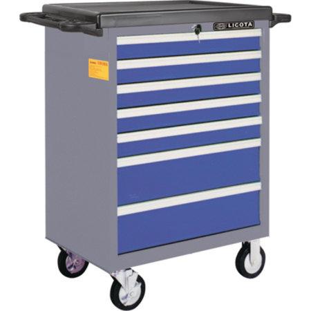 Тележка инструментальная 7 полок, пласт. столешница, сине-серая Licota AWX-2603BTS