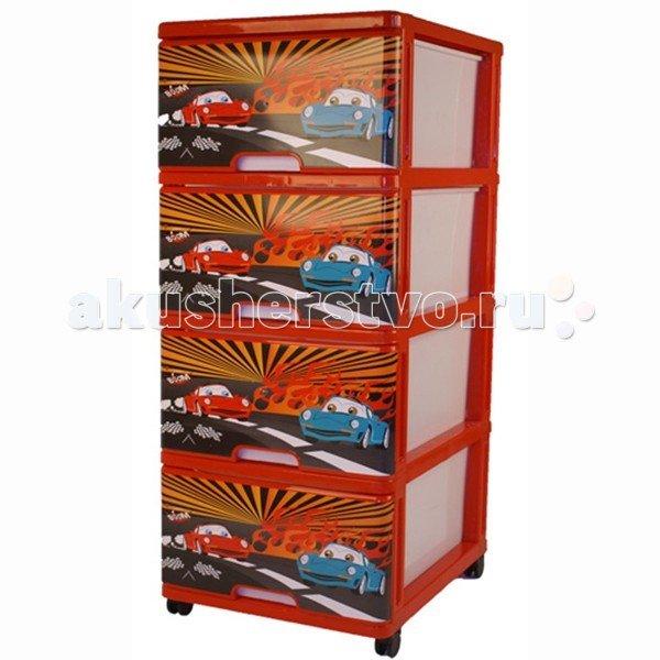 Dunya Комод 4 ящика с рисунком Тачки Красный