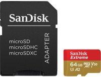 Карта памяти MicroSDXC SanDisk 64GB Class10 c адаптером V30 UHS-I U3 black (SDSQXA2-064G-GN6MA)