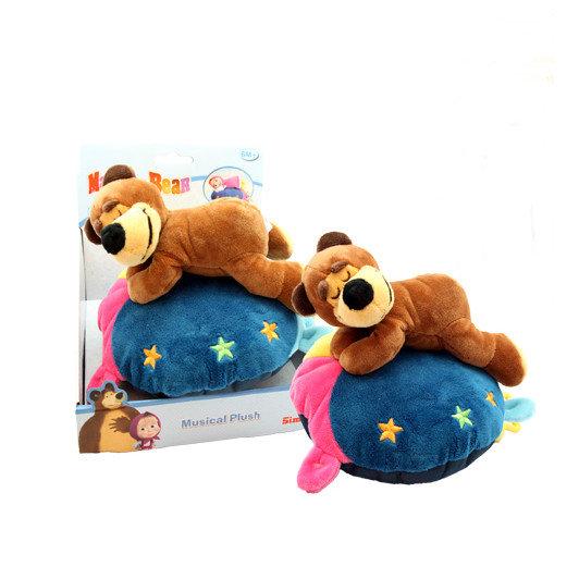 Игрушки со светом, звуками и музыкой Simba Музыкальная плюшевая подушка Маша и Медведь 9301114/1