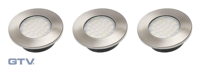 Светильники встраиваемые GTV Комплект из 3-х точечных встраиваемых светодиодных светильников Barri PLUS 3*1,5W, 220V, теплый свет