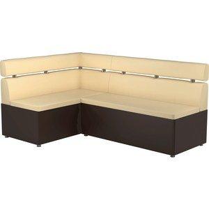 Кухонный угловой диван АртМебель Классик эко-кожа бежево/коричневый левый