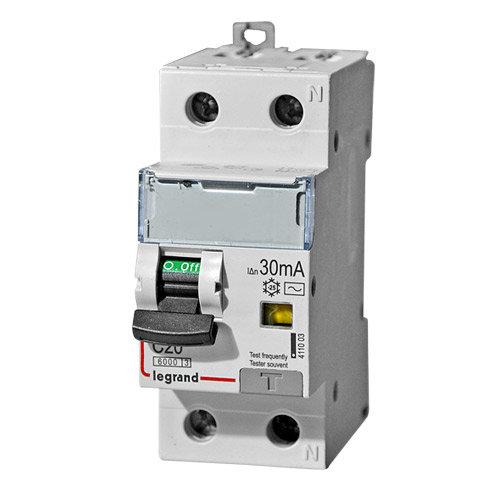 Дифференциальный автоматический выключатель 1-полюсный+N C20А 30MA-AC Legrand DX3