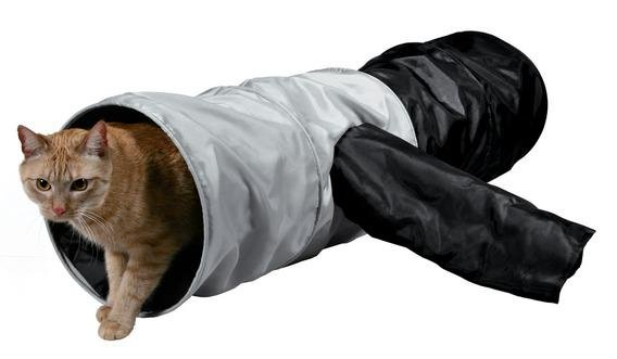 Trixie Тоннель для кошек шуршащий, серый/черный, 115х30 см