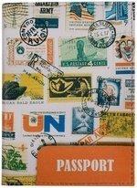 Обложка для паспорта Марки разных стран с печатями (кожа) (ПВХ бокс) (ОК2017-08)