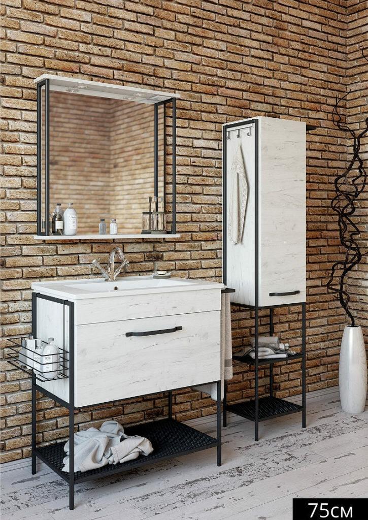 Мебель для ванной Sanflor Бруклин 75 (Тумба с раковиной + зеркало)