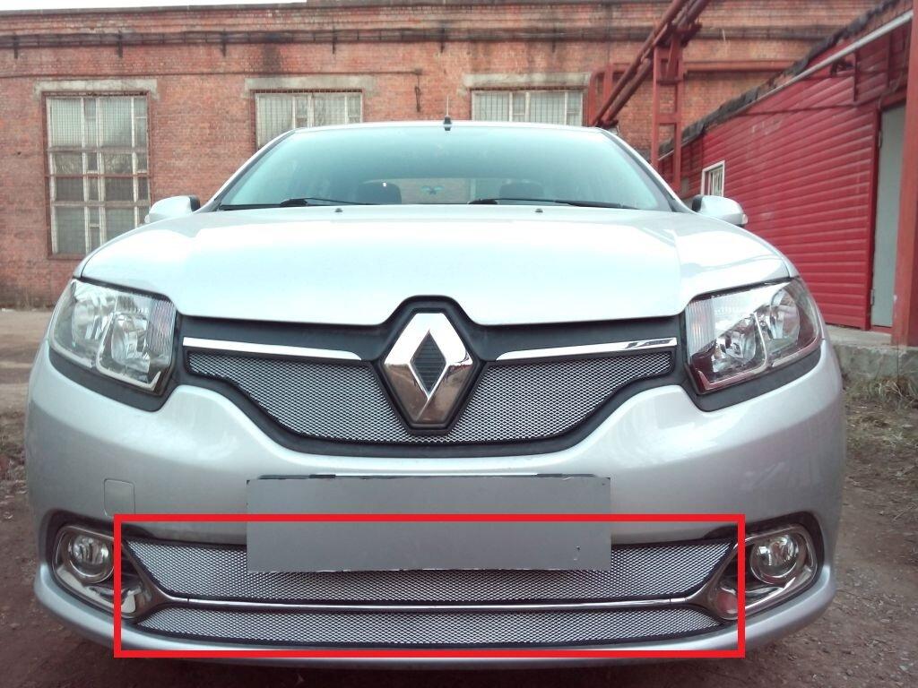 Защита радиатора для Renault Logan с 2014-н.в. (Privilege, Luxe Privilege) нижняя часть (Стандарт) chrome
